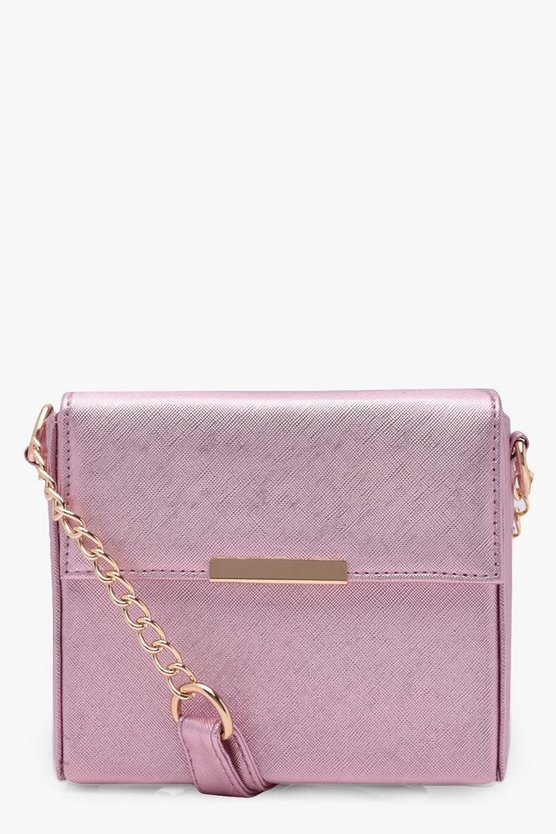 Ida Metallic Crosshatch Boxy Cross Body Bag