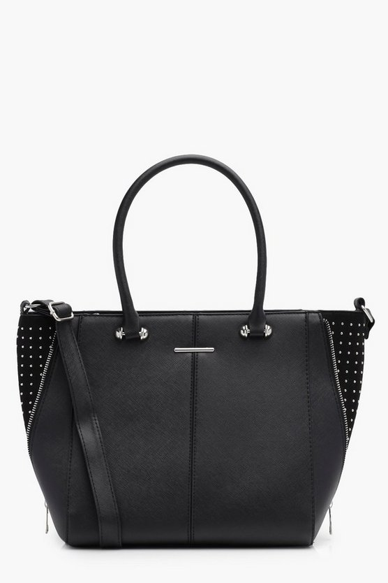 Crosshatch and Suedette Pinstud Tote