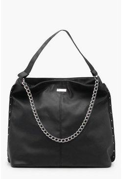 ae22cea910b Joan Stud and Chain Hobo Day Bag   Boohoo