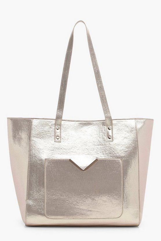 Lani Pocket Front Metallic Winged Tote