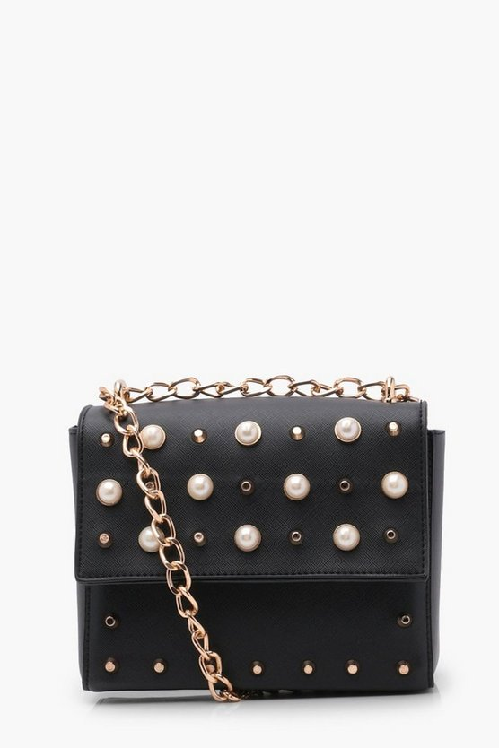 Faux Pearl And Stud Box Cross Body