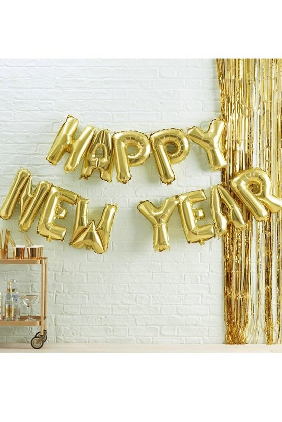 Bunting Balloon - Happy New Year, Gold, Donna