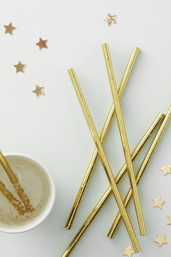 Foiled Gold Straws