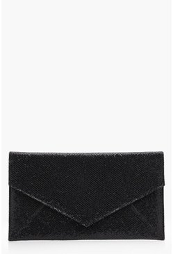 Womens Black Glitter Envelope Panel Clutch