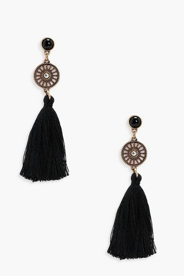 Black Diamante Circle Tassel Earrings