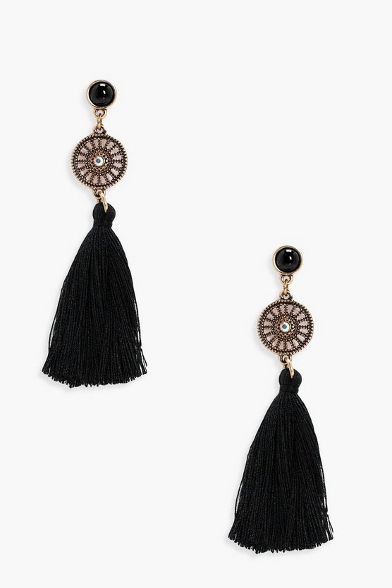 Womens Black Diamante Circle Tassel Earrings