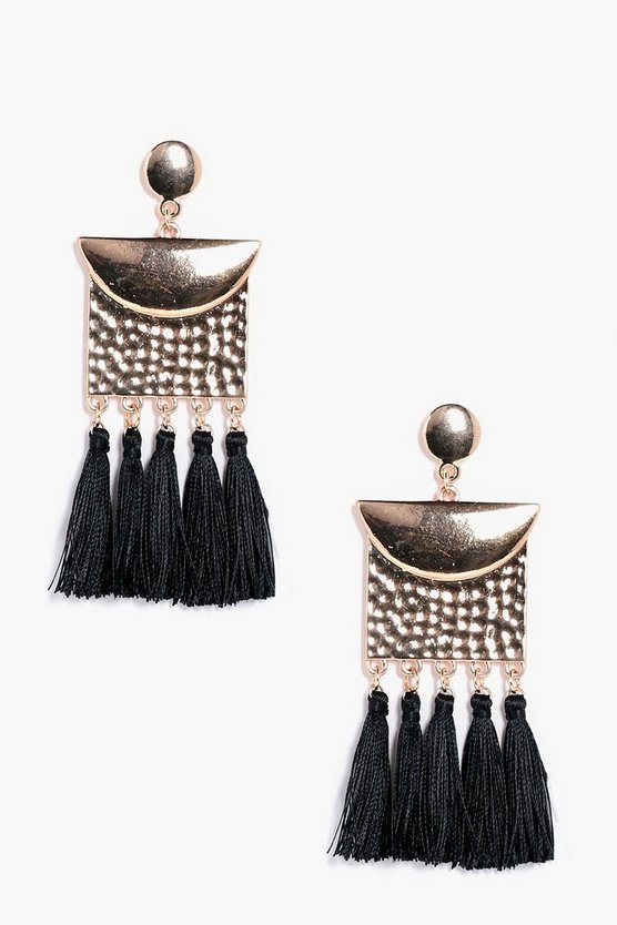 Hammered Plate Effect Tassel Earrings