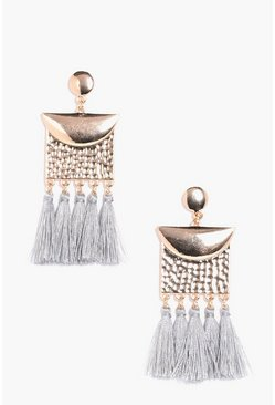 Womens Grey Hammered Plate Effect Tassel Earrings