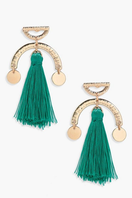 Womens Emerald Horse Shoe Tassel Earrings