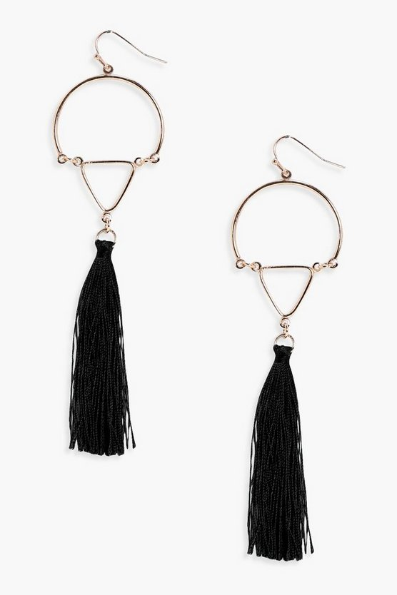 Half Hoop Tassel Earrings