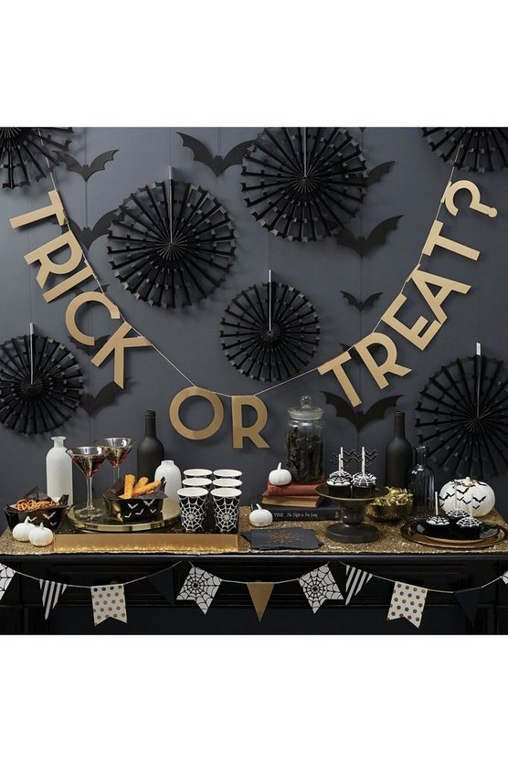 Womens Black Trick Or Treat Bunting