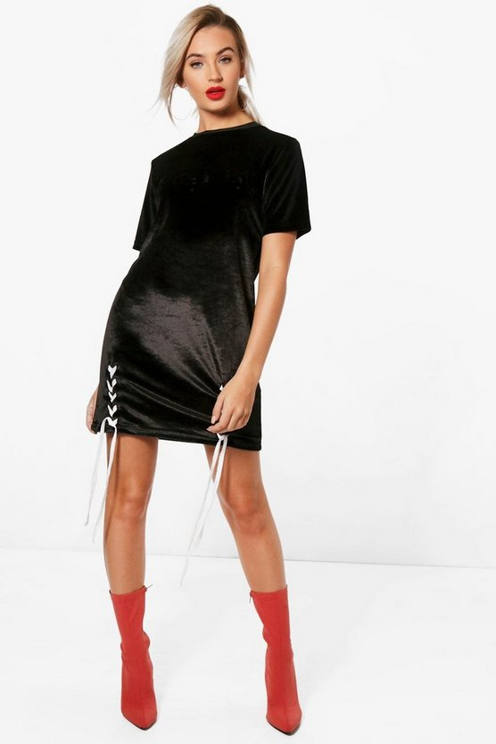 Lace Up Embossed Slogan T-Shirt Dress