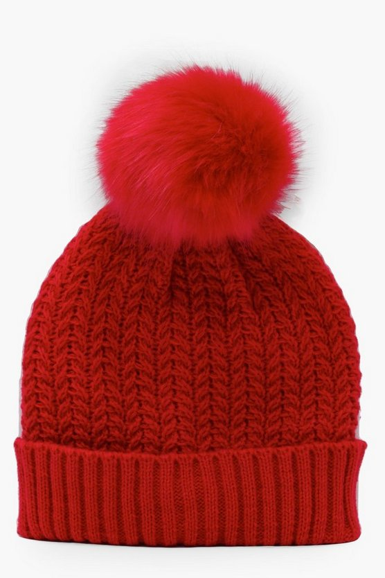 Womens Red Cable Knit Beanie