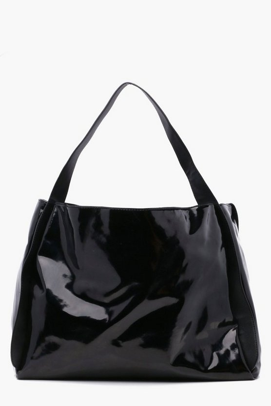 Womens Black Ryda Vinyl Oversized Shopper Bag