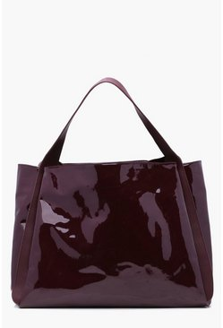Womens Wine Ryda Vinyl Oversized Shopper Bag