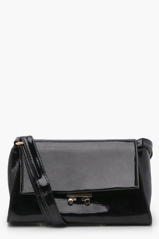 Womens Black Lo Envelope Lock Fasten Cross Body Bag
