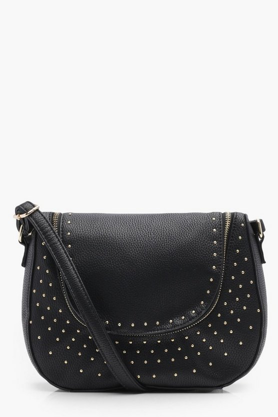 Womens Black Lissandra Pin Stud Double Zip Cross Body Bag