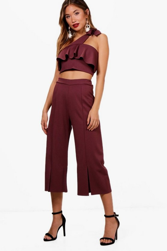 Frill Top and Split Front Culotte Co-ord Set