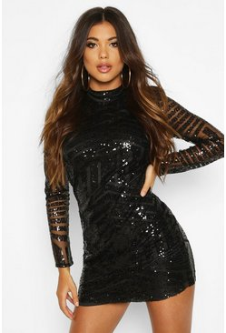 Boutique Sequin and Mesh Bodycon Dress, Black, Donna