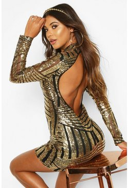Womens Gold Boutique Sequin and Mesh Bodycon Dress