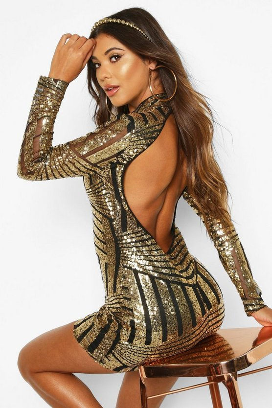 Boutique Jo Sequin and Mesh Bodycon Dress