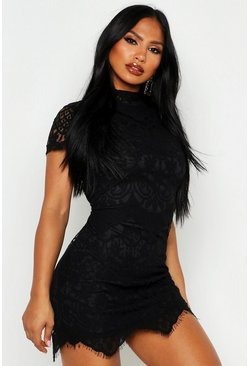 Womens Black Boutique Eyelash Lace Bodycon Dress