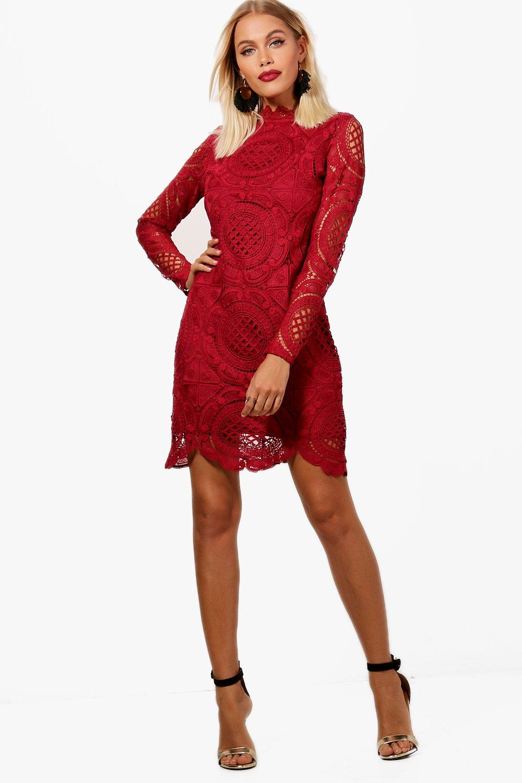 Dress Scallop Lace Neck High Detail Bodycon SfXdqf