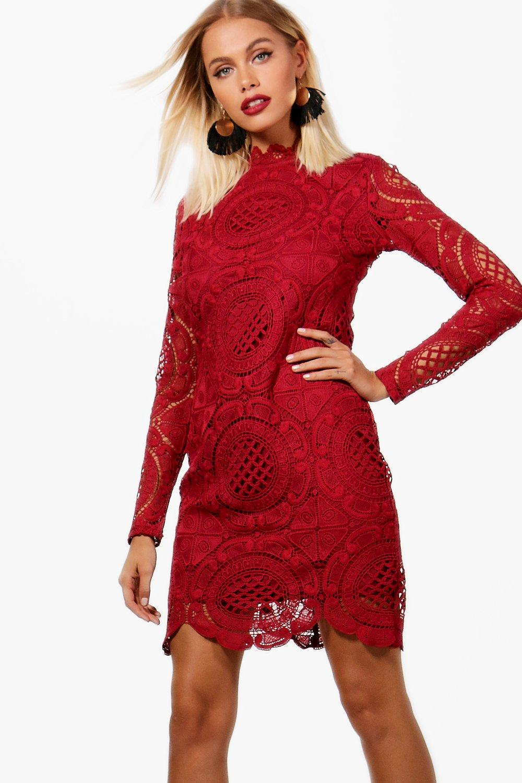 Neck Detail Bodycon High Scallop Lace Dress wvt0x