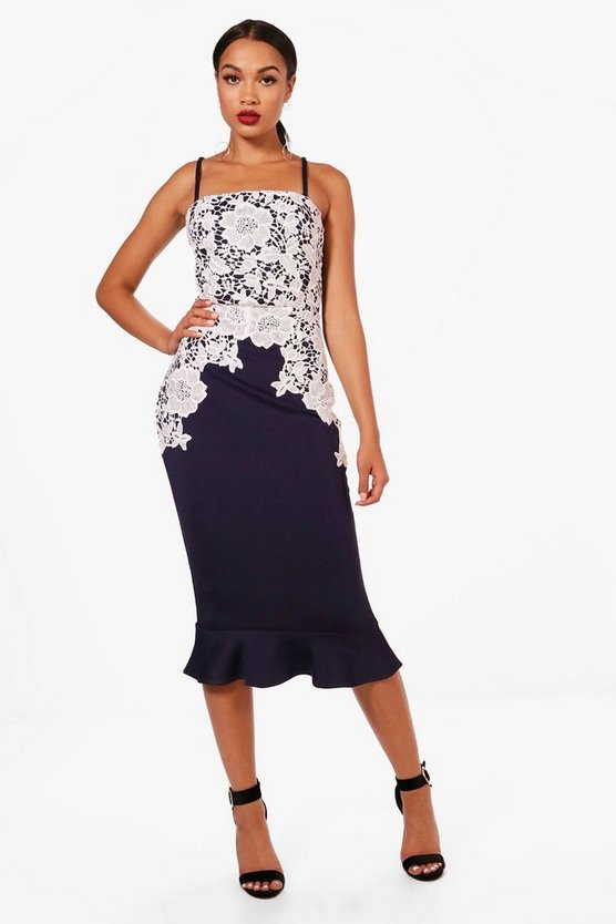 Navy Crochet Lace Panelled Frill Hem Midi Dress