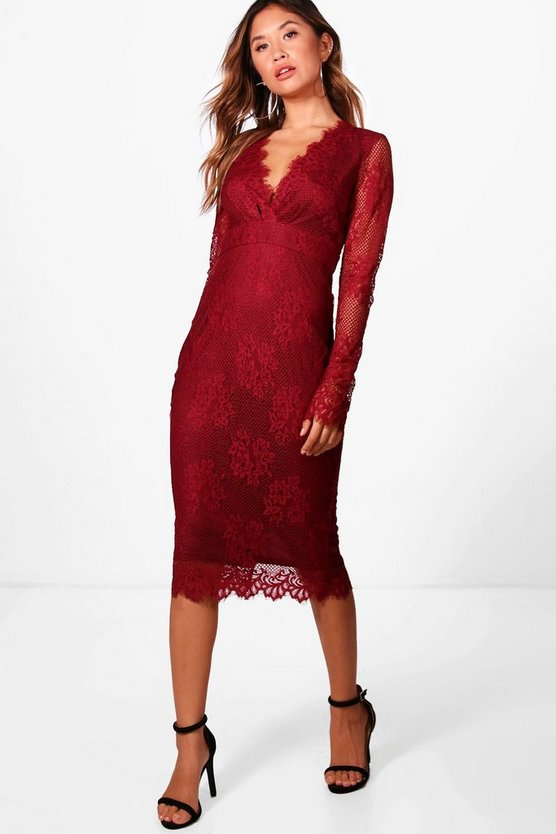 Boutique Eyelash Lace Midi Dress