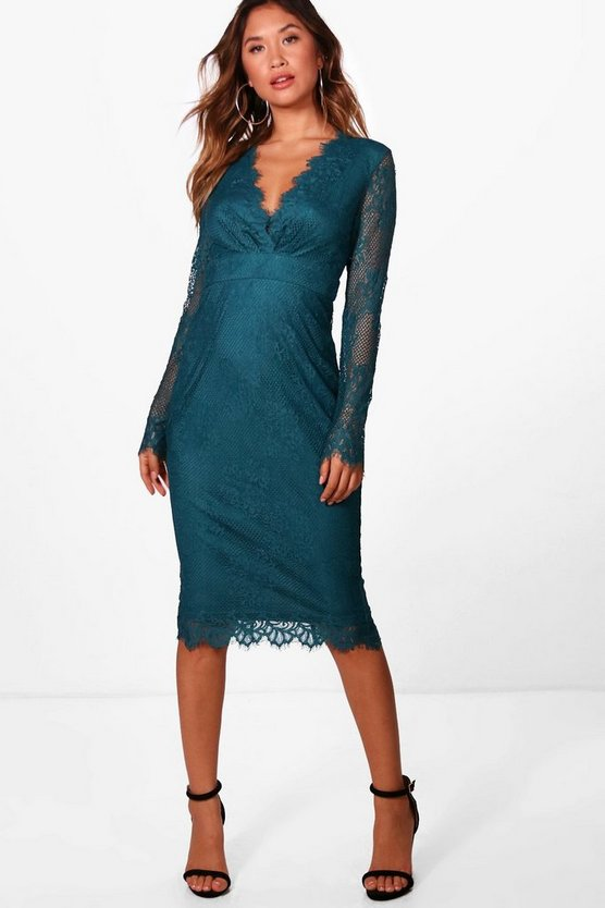 Womens Boutique Eyelash Lace Midi Dress