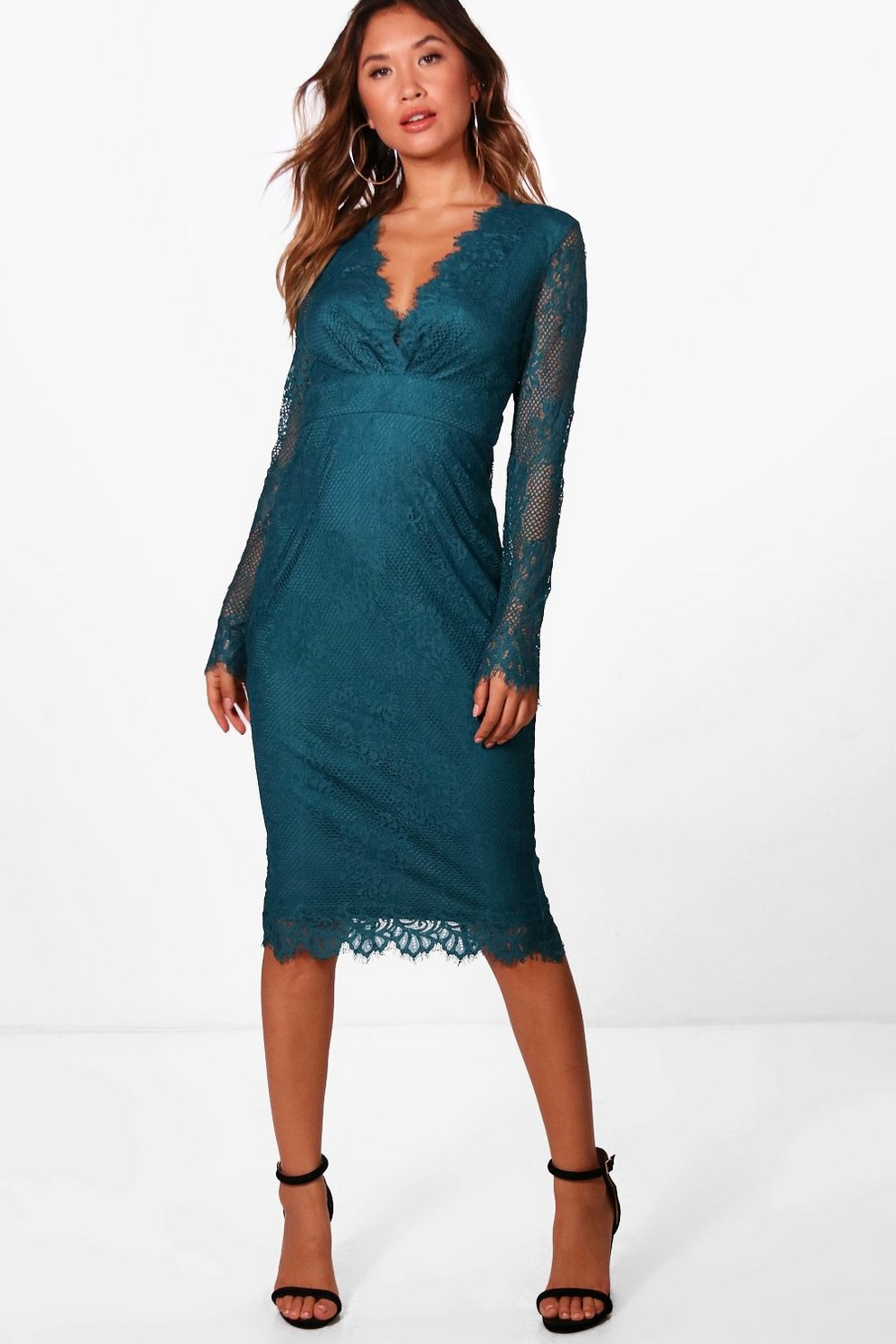 946a30e9d459 Boutique Eyelash Lace Midi Dress | Boohoo