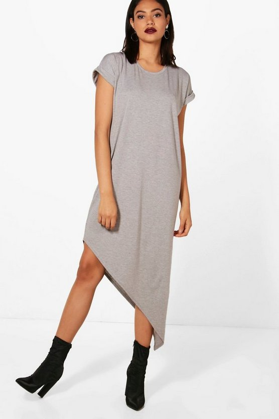 Womens Grey Asymmetric T-Shirt Midi Dress