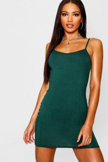 Womens Bottle Basic Strappy Cami Bodycon Dress