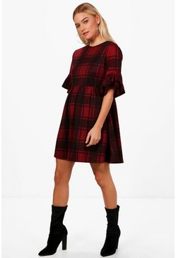 Womens Burgundy Tartan Frill Sleeve Smock Dress