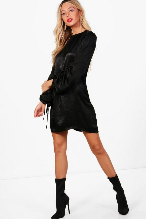 Hammered Satin Blouson Sleeve Shift Dress