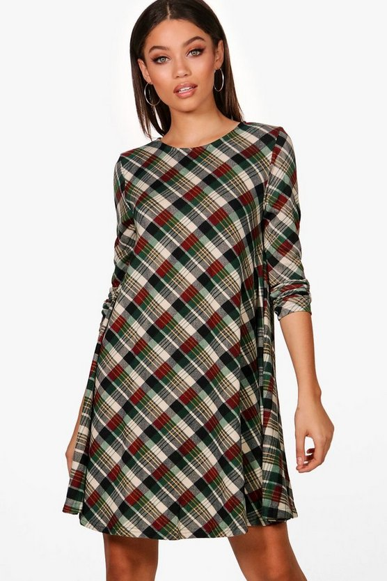 Diagonal Check Brush Knit Swing Dress