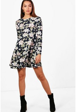 Womens Navy Large Floral Brushed Knit Swing Dress