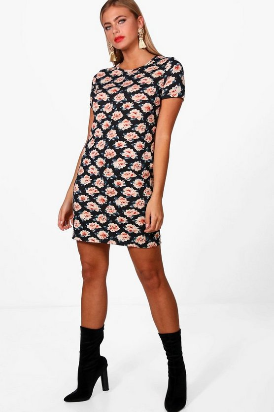 Autumnal Floral Brushed Knit Shift Dress