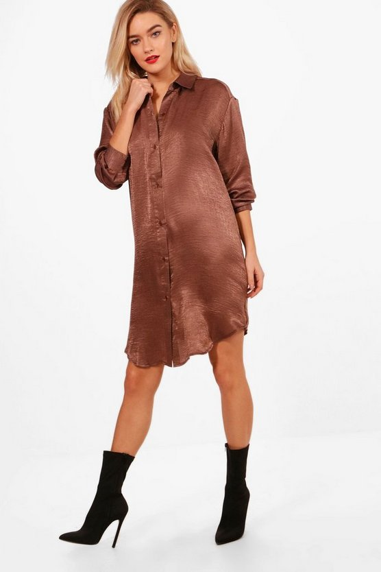 3 In 1 Hammered Satin Shirt Dress