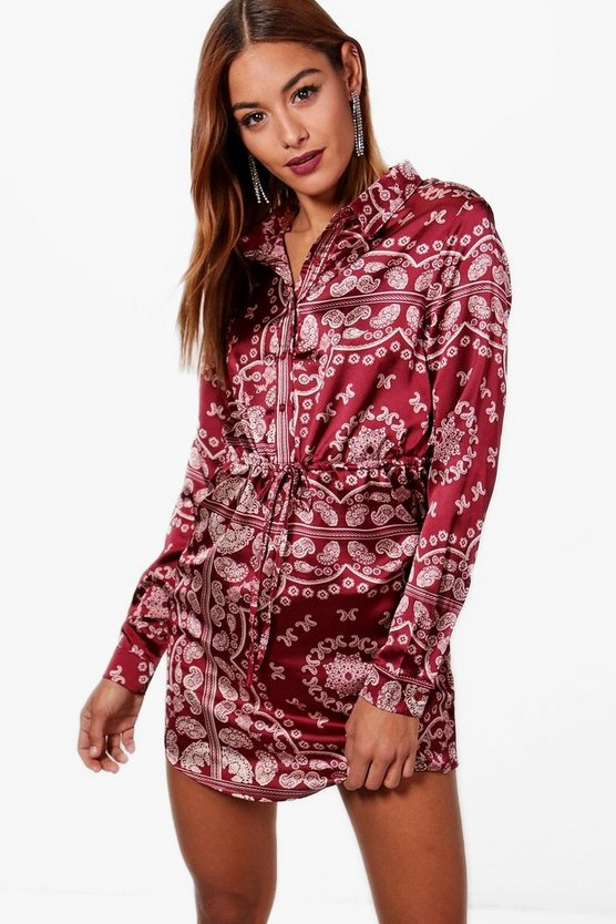 Scarf Print Luxe Satin Shirt Dress