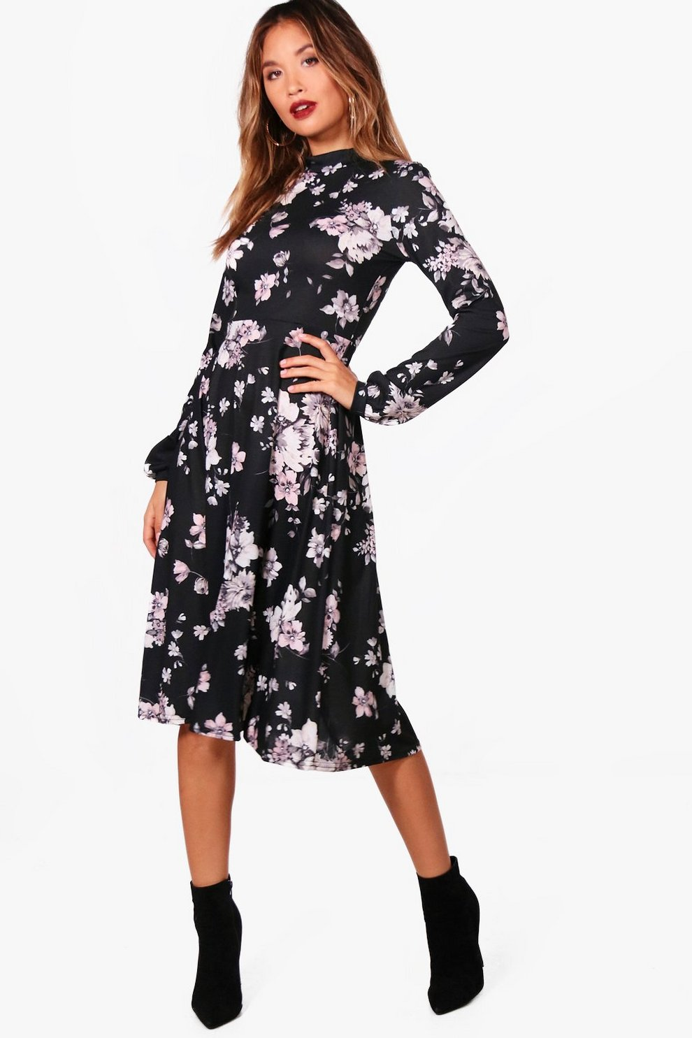 9bbc8bb44d67 Womens Black Bec High Neck Bohemian Floral Midi Dress