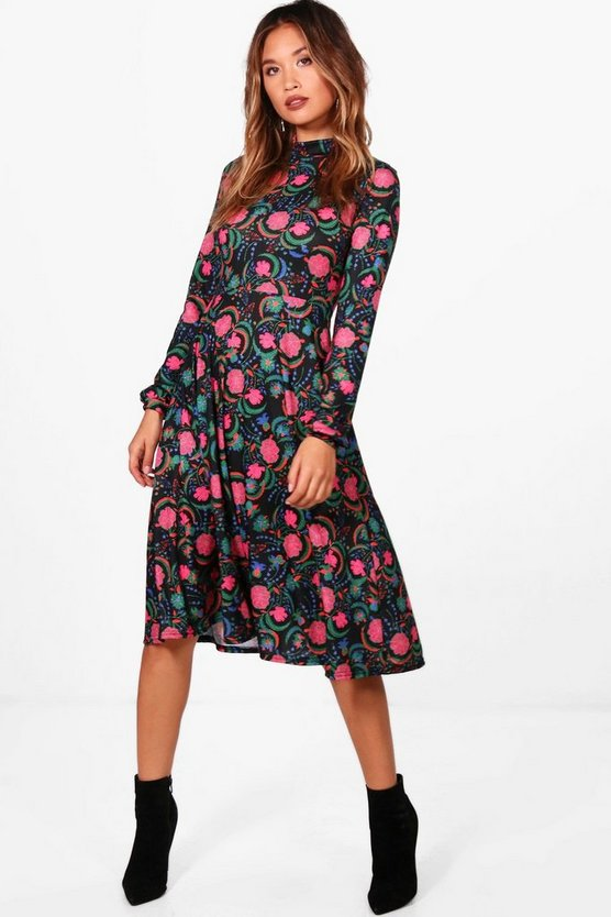 Bohemian Floral High Neck Midi Dress