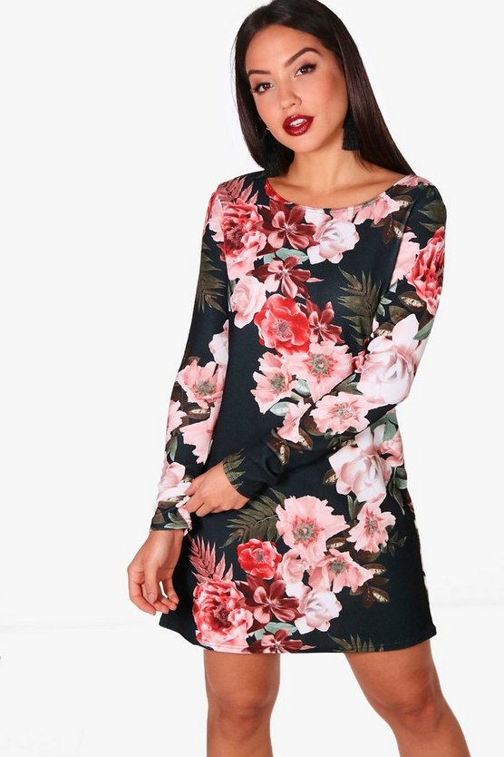 Womens Black Floral Long Sleeved Shift Dress