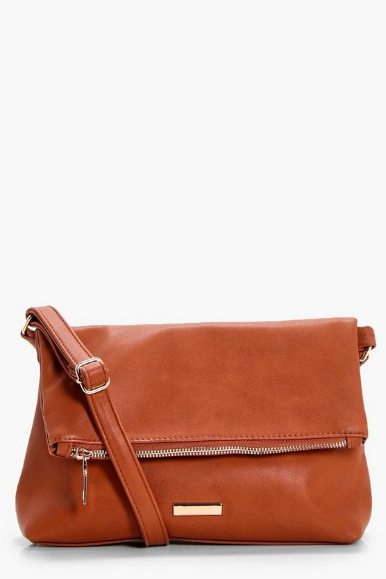 Jenna Fold Over Zip & Plaque Cross Body Bag