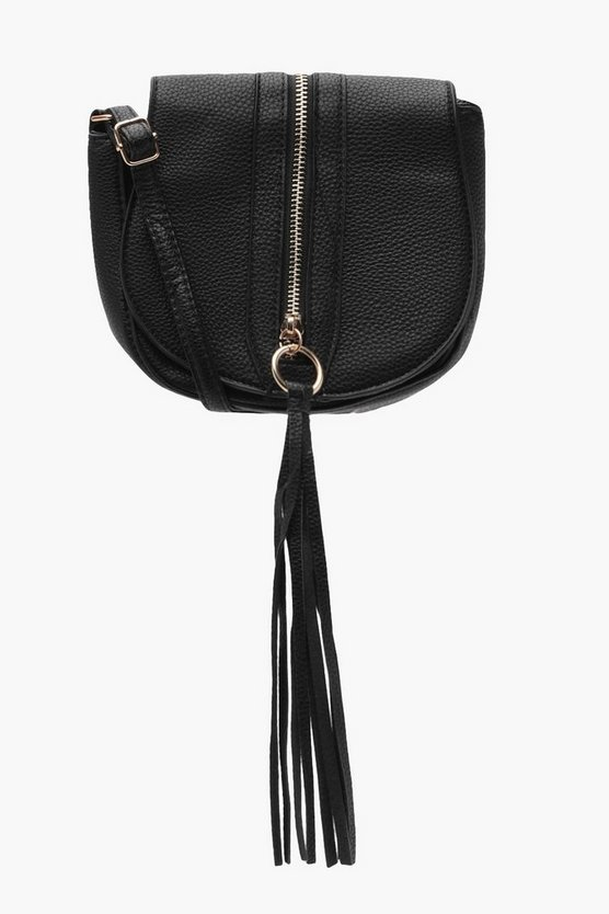 Jenny Zip Tassel Saddle Cross Body Bag
