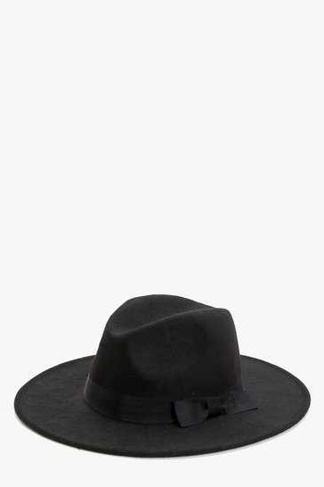 Womens Black Ribbon Trim Fedora