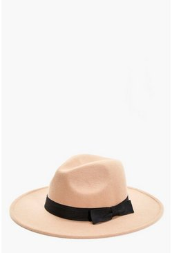 Womens Camel Ribbon Trim Fedora