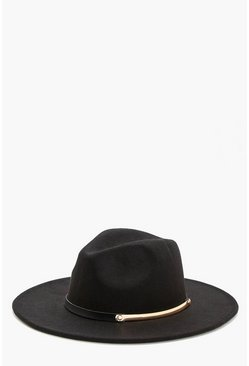 Womens Black Bar Belt Trim Fedora