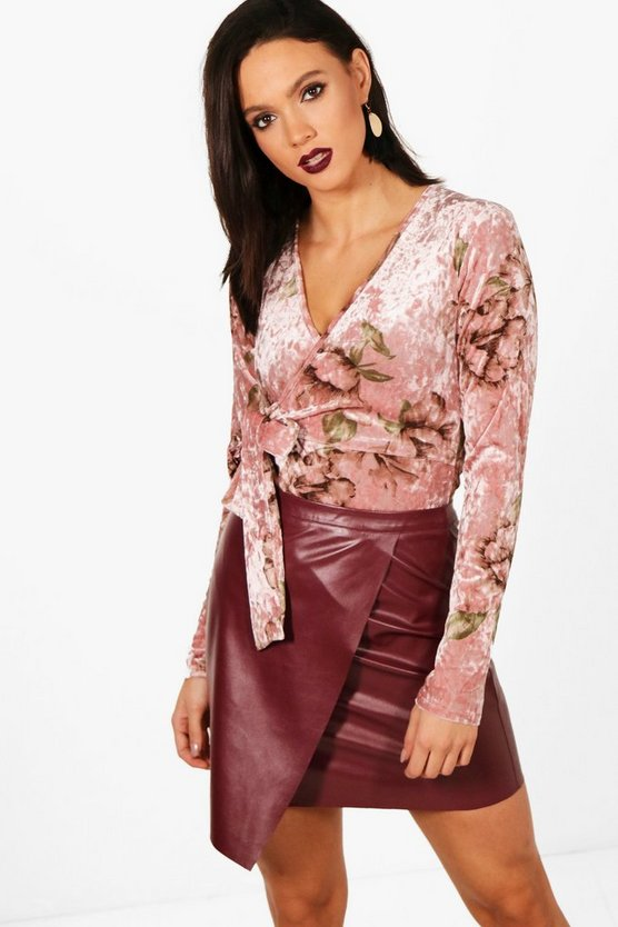 Printed Velvet Long Sleeve Wrap Body